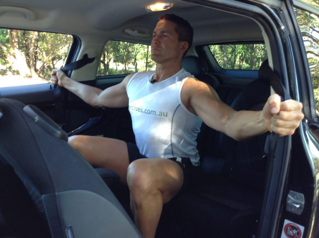 fitness for fun workout ideas-car exercises-seatbelt flys