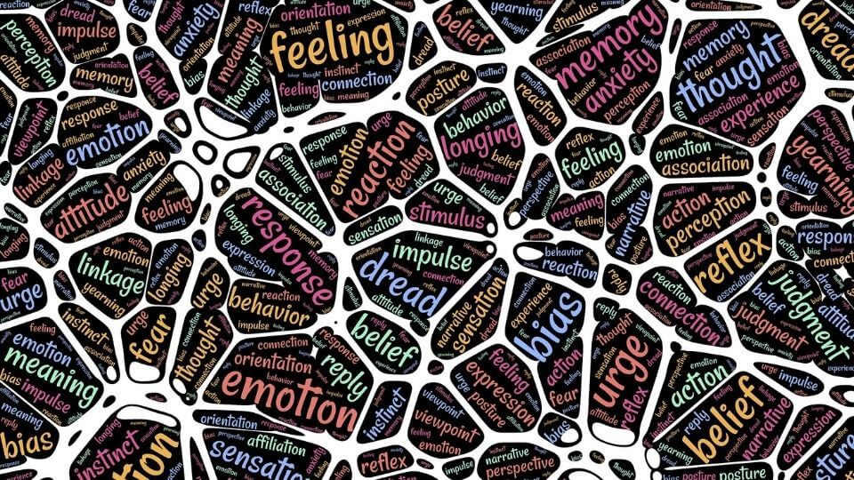 NLP for weight loss - mindset and emotion word collage