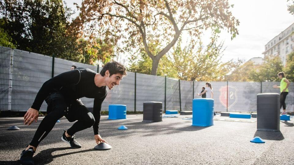 Specificity is important for workout preparation-man doing outdoor agility workout