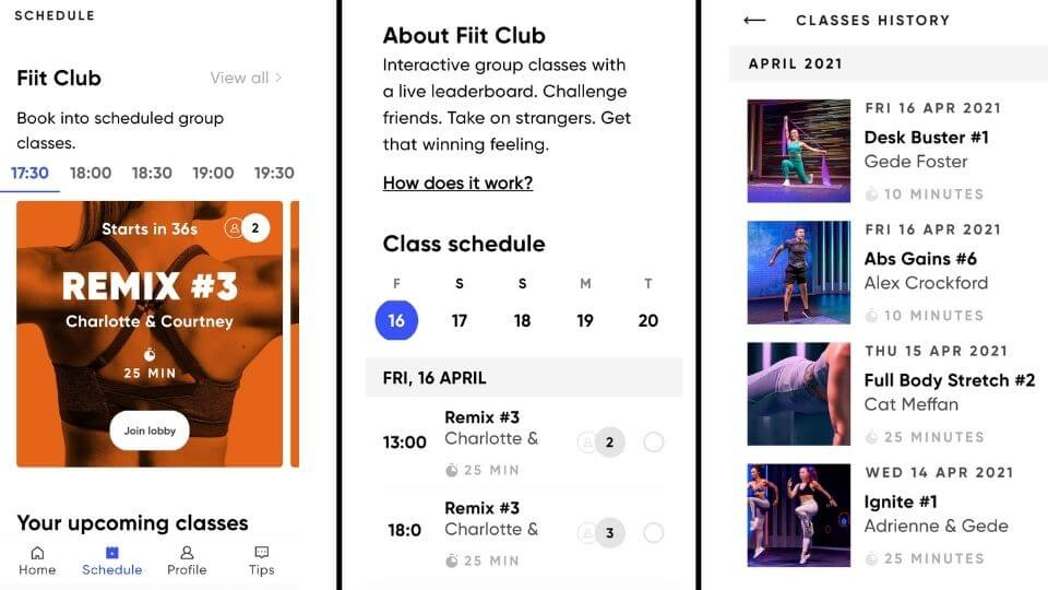 FIIT review home workout app screenshots-FIIT club-about-class history