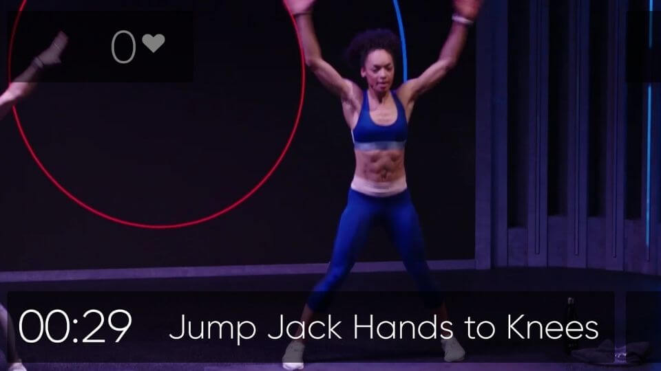 FIIT reviews-mid class screenshot-instructor-jup jack hands to knees and coutdown