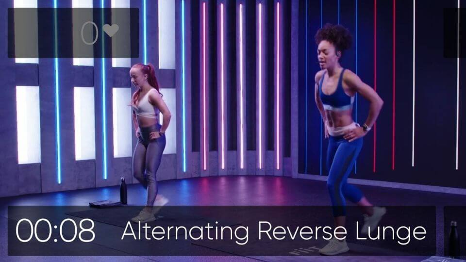 FIIT reviews-mid class screenshot with instructors-alternating reverse lunge and countdown